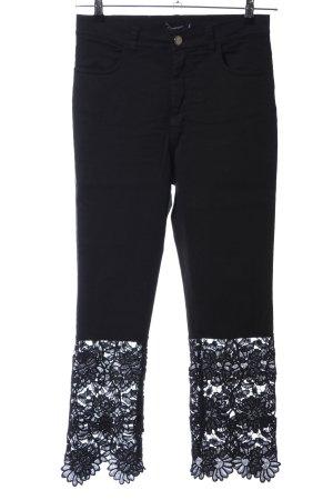 Denny Rose Skinny Jeans schwarz Blumenmuster Casual-Look
