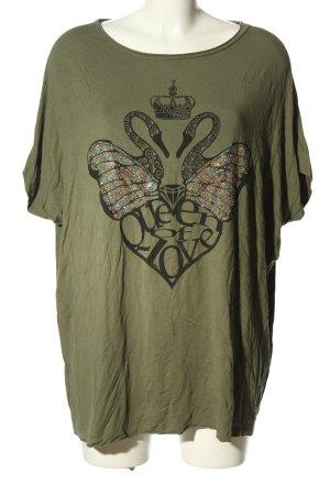 Denny Rose T-Shirt khaki-schwarz Motivdruck Casual-Look