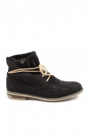 Depeche Lace-up Booties black-natural white casual look