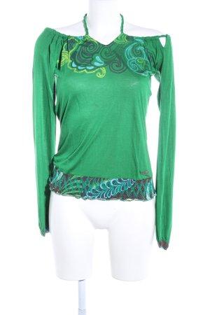 Dept Camisa tipo Carmen verde estampado con diseño abstracto look casual