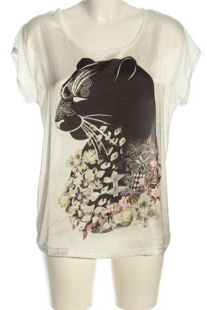 Dept Kurzarm-Bluse weiß-schwarz Motivdruck Casual-Look