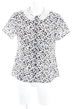 Dept Kurzarm-Bluse weiß-schwarz Logo-Applikation aus Metall