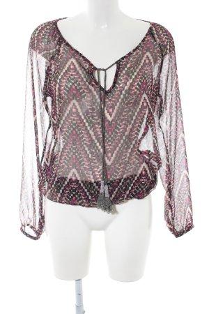 Dept Langarm-Bluse abstraktes Muster Elegant