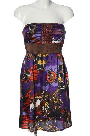 Dept schulterfreies Kleid lila-braun abstraktes Muster Elegant