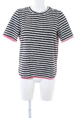 Dept T-Shirt schwarz-weiß Streifenmuster Casual-Look