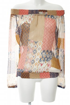 Dept Transparenz-Bluse wollweiß-hellorange abstraktes Muster Casual-Look