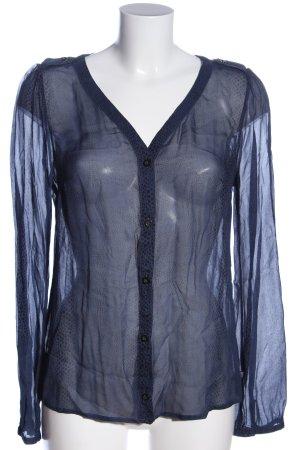Dept Transparenz-Bluse blau-schwarz Animalmuster Casual-Look