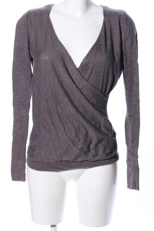 Dept V-Ausschnitt-Pullover braun meliert Wickeloptik