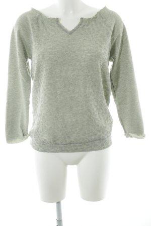 Dept V-Ausschnitt-Pullover hellgrau-blassgrün abstraktes Muster Casual-Look