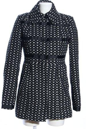 Dept Cappotto invernale nero-bianco stampa integrale stile casual