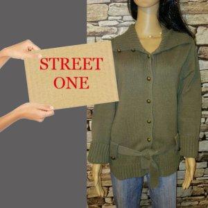 Street One Cappotto a maglia cachi Tessuto misto
