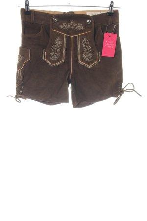 Der Wildschütz Pantalone in pelle tradizionale marrone Stampa a tema