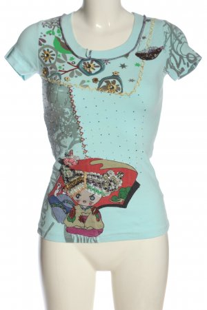 derek heart T-Shirt turquoise allover print casual look