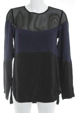 Derek Lam Langarm-Bluse schwarz-dunkelblau Streifenmuster Elegant