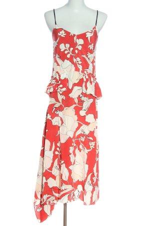 Derek Lam Pinafore dress red-white flower pattern casual look