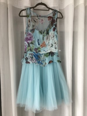 Derhy Kleid Sommerkleid kurzes Kleid blaues Kleid mit Blumenmuster Minikleid Cocktailkleid Abendkleid