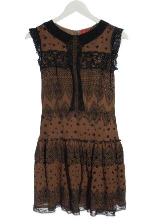 Derhy Mini Dress brown-black allover print casual look