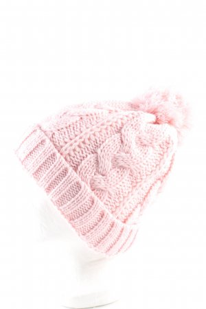 Crochet Cap pink cable stitch casual look