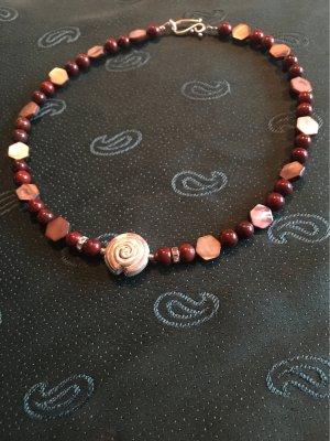 Design Collier / Roter Jaspis & braune Perlmutt Sechsecke & große Silberschnecke