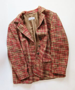 Design Gerry Weber Blazer Jacke L 44 Karo Orange Braun Khaki Wolle Gewebt Tweed  Boucle Oversize