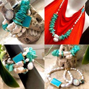 Designer Armbänder 3 Stück Barock Perlen Türkis Unikat