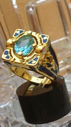 Designer ausgefallener Gold Ring Aquamarin -Zirkonia Gr. 19