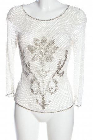designer basics Transparenz-Bluse weiß-hellgrau Motivdruck Casual-Look