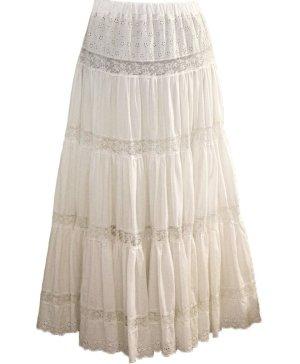Twin set Spódnica z falbanami biały Bawełna