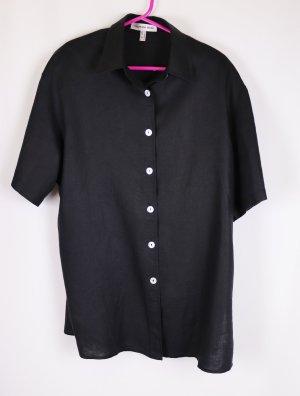 Designer Bluse Leinen Neumann Berlin Größe 40 M Schwarz Perlmutt Knopf Weich Edel Business Klassisch Hemd