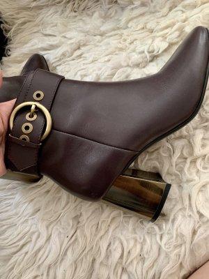 Krótkie buty bordo-brązowo-czerwony Skóra