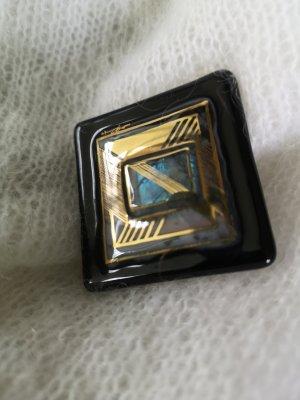 Designer Brosche mit 24kt Goldbemalung