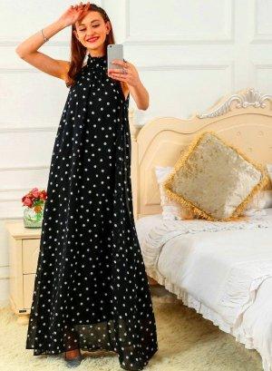 Twin set Maxi Dress white-black polyester