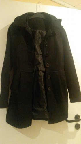 H&M Divided Wool Coat black viscose