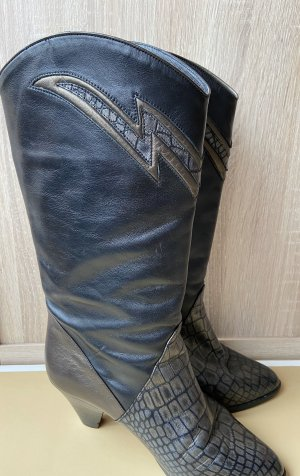 Made in Italy Western Boots anthracite-sand brown leather