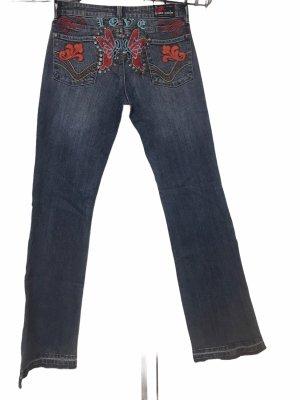 Designer Damen Jeans Hose Stretch bestickt L