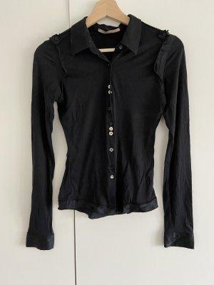 Designer Damen schwarze Seidenbluse