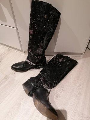 Designer Echt Leder Stiefel Boots 37 Made Italy komplett Leder