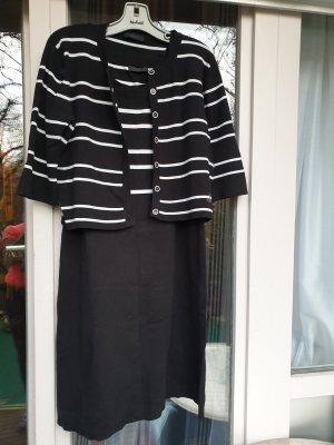 Designer - GCfontana Strick Kleid mit Jacke  schwarz mit mit weißen Streifen