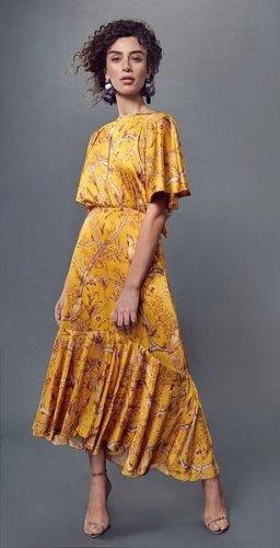 Designer Johanna Ortiz Satin Maxikleid Sommer lang gelb geblümt offener Rücken S 36