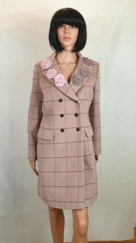 Designer Kashmir Mantel in Pink mit Rosen,38, Herbstmode,Unikat