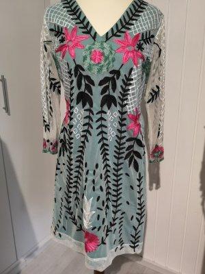 Almatrichi Sukienka koktajlowa turkusowy-szaro-zielony