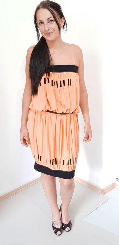 Sukienka z rękawem balonowym brzoskwiniowy-czarny Wiskoza