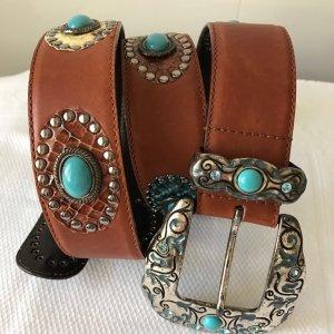 Designer-Ledergürtel, handgemacht mit Ornamenten