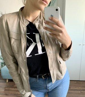 Brunello Cucinelli Leather Jacket grey brown
