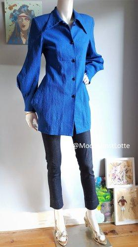 Unikat Blazer lungo blu-blu neon Lino
