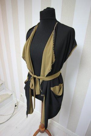 Gilet long tricoté noir-brun sable