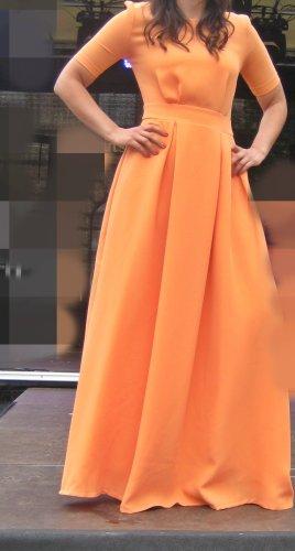 Designer Maxi Kleid Orange Kurzarm Gr 40 neu