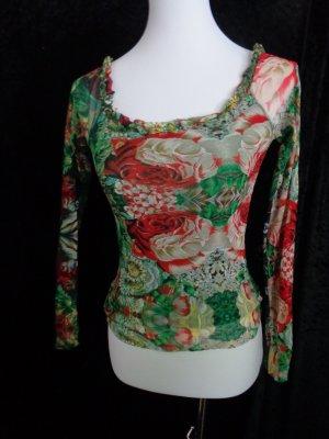 Designer-Mesh-Shirt, Blumenmuster bunt, Gr. 36/38