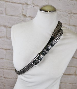 Liebeskind Studded Belt dark green-silver-colored leather