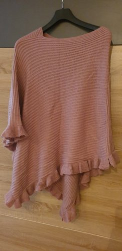 Knitted Poncho rose-gold-coloured-dusky pink